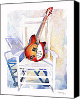 Guitar Painting Canvas Prints - Rock On Canvas Print by Andrew King