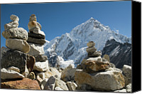 Nepal Canvas Prints - Rock Piles In The Himalayas Canvas Print by Shanna Baker