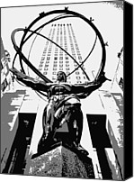 Heart Plaza Canvas Prints - Rockefeller Plaza BW3 Canvas Print by Scott Kelley