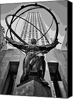 Heart Plaza Canvas Prints - Rockefeller Plaza BW8 Canvas Print by Scott Kelley
