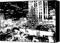 Heart Plaza Canvas Prints - Rockefeller Tree BW3 Canvas Print by Scott Kelley