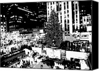 Heart Plaza Canvas Prints - Rockefeller Tree BW8 Canvas Print by Scott Kelley