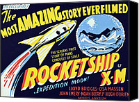 1950s Poster Art Canvas Prints - Rocketship X-m, 1950 Canvas Print by Everett