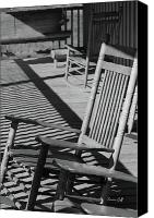 Rocking Chair Canvas Prints - Rocking Chair Porch in black and white Canvas Print by Suzanne Gaff
