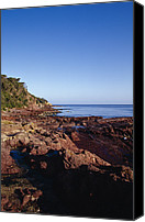 Red Rock Formations Canvas Prints - Rockpools In Volcanic Rock Formations Canvas Print by Jason Edwards
