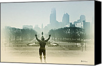 Art Museum Canvas Prints - Rocky at the Top of the Steps Canvas Print by Bill Cannon