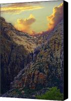 Mountain Scene Mixed Media Canvas Prints - Rocky Canyon Canvas Print by Maria Eames
