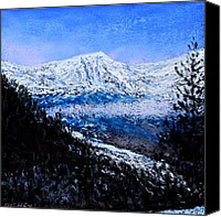 Mountains Pastels Canvas Prints - Rocky Mountain Winter Vista Canvas Print by Bob Richey