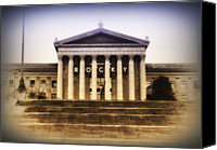 Philadelphia Canvas Prints - Rocky on the Art Museum Steps Canvas Print by Bill Cannon