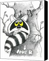 Raccoon Drawings Canvas Prints - Rocky Raccoon. Canvas Print by Richard Brooks