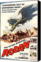 1957 Movies Canvas Prints - Rodan, 1957, Poster Art Canvas Print by Everett