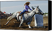 Athletes Canvas Prints - Rodeo Barrel Racer Canvas Print by Bob Christopher