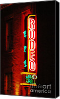 Family Room Canvas Prints - Rodeo Neon Sign  Canvas Print by Adspice Studios