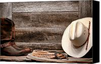 Cowboy Hat Canvas Prints - Rodeo Still Life Canvas Print by Olivier Le Queinec