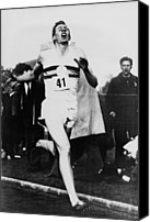 Athletes Canvas Prints - Roger Bannister Crossing The Finish Canvas Print by Everett