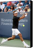 Tennis Canvas Prints - Roger Federer Canvas Print by Keith Allen