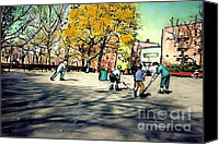 Bennett Canvas Prints - Roller Hockey in Bennett Park Canvas Print by Sarah Loft