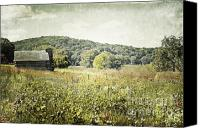Log Cabin Art Canvas Prints - Rolling Hills Cabin Canvas Print by Andrea Hazel Ihlefeld