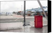 Airport Terminal Canvas Prints - Rolling Luggage in an Airport Concourse Canvas Print by Jaak Nilson