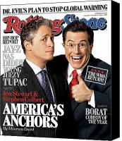 Jon Stewart Canvas Prints - Rolling Stone Cover - Volume #1013 - 11/16/2006 - Jon Stewart and Stephen Colbert Canvas Print by Robert Trachtenberg