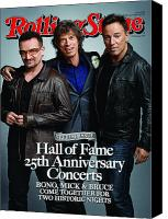 Springsteen Canvas Prints - Rolling Stone Cover - Volume #1092 - 11/26/2009 - Bono, Mick Jagger, and Bruce Springsteen Canvas Print by Mark Seliger