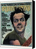 Magazine Cover Canvas Prints - Rolling Stone Cover - Volume #201 - 12/4/1975 - Jack Nicholson Canvas Print by Kim Whitesides