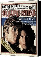 Magazine Cover Canvas Prints - Rolling Stone Cover - Volume #210 - 4/8/1976 - Robert Redford and Dustin Hoffman Canvas Print by Stanley Tretick
