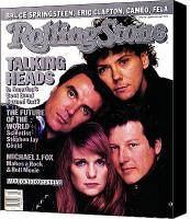 Talking Canvas Prints - Rolling Stone Cover - Volume #491 - 1/15/1987 - Talking Heads Canvas Print by Richard Corman