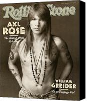 Magazine Cover Canvas Prints - Rolling Stone Cover - Volume #627 - 4/2/1992 - Axl Rose Canvas Print by Herb Ritts