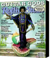 Magazine Cover Canvas Prints - Rolling Stone Cover - Volume #809 - 4/1/1999 - Jimi Hendrix Canvas Print by Mark Ryden
