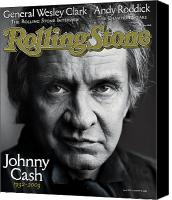 Johnny Cash Canvas Prints - Rolling Stone Cover - Volume #933 - 10/16/2003 - Johnny Cash Canvas Print by Mark Seliger