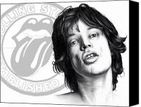 Freehand Drawing Canvas Prints - Rolling Stones Mick Jagger Drawing Canvas Print by Lee Appleby