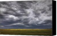Thunderclouds Canvas Prints - Rolling Storm Clouds Over Prairie Canvas Print by Dan Jurak