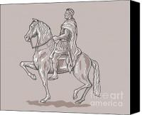 Pony Canvas Prints - Roman emperor riding horse Canvas Print by Aloysius Patrimonio
