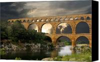 France Canvas Prints - Roman Pont Du Gard Canvas Print by Carver Kearney