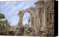 Empire Painting Canvas Prints - Roman ruins Canvas Print by Guido Borelli