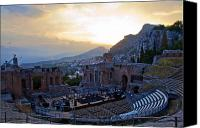 Taormina Canvas Prints - Roman Theater in Taormina Canvas Print by Madeline Ellis