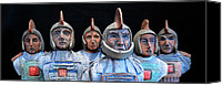 Warriors Ceramics Canvas Prints - Roman Warriors - Bust sculpture - Roemer - Romeinen - Antichi Romani - Romains - Romarere Canvas Print by Urft Valley Art