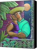 Puerto Rico Drawings Canvas Prints - Romance Jibaro Canvas Print by Oscar Ortiz