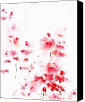 Simple Painting Canvas Prints - Romance Red X Canvas Print by Jerome Lawrence
