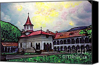 Spirituality Mixed Media Canvas Prints - Romanian Monastery Canvas Print by Sarah Loft