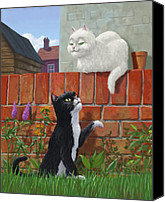 Cat Boy Digital Art Canvas Prints - Romantic Cute Cats In Garden Canvas Print by Martin Davey