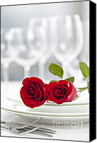 Rose Flower Canvas Prints - Romantic dinner setting Canvas Print by Elena Elisseeva
