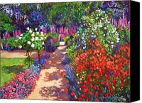 Featured Painting Canvas Prints - Romantic Garden Walk Canvas Print by David Lloyd Glover