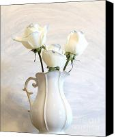 Canvas Wrap Canvas Prints - Romantic White Roses Canvas Print by Marsha Heiken