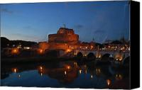 Vatican Painting Canvas Prints - Rome at Dusk Roma al tramonto Canvas Print by Dante Pantoni