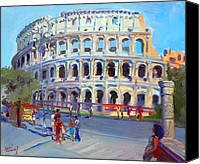Empire Painting Canvas Prints - Rome Colosseum Canvas Print by Ylli Haruni