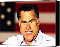Mitt Canvas Prints - Romney Caricature Canvas Print by Anthony Caruso