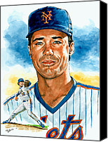 Baseball Painting Canvas Prints - Ron Darling Canvas Print by Tom Hedderich