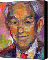 Paul Drawings Canvas Prints - Ron Paul art impressionistic painting  Canvas Print by Svetlana Novikova